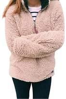 Tomteamell Women Fleece Pullover Wool Pebble Pile 1/4 Zip Outfits Warm Sweatshirt L