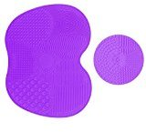 Makeup Brush Cleaning Mat, Makeup Brush Cleaner Pad Cosmetic Brush Cleaning Mat Portable Washing Tool Scrubber Suction Cup (Dark Purple)
