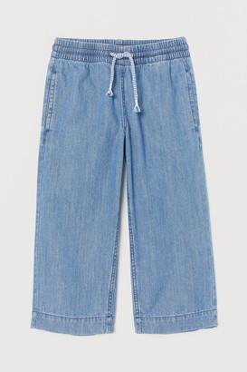 H&M Wide Leg Ankle Jeans - Blue