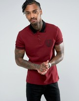 Versace Polo Shirt In Burgundy With Chest Logo