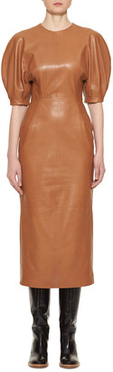 Gabriela Hearst Coretta Curved-Shoulder Leather Midi Dress