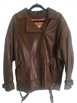 Jaeger Brown Leather Leather Jacket for Women Vintage