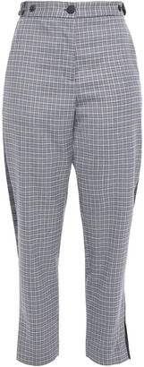 Rag & Bone Cropped Paneled Checked Wool-blend Felt Tapered Pants