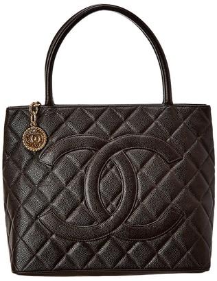 Chanel Black Caviar Leather Medallion Tote