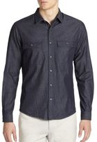 Theory Barham Turini Denim Button-Down Shirt