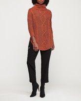 Express Cowl Neck Cable Knit Tunic Sweater