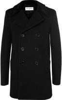 Saint Laurent - Slim-fit Velvet-trimmed Wool-blend Peacoat