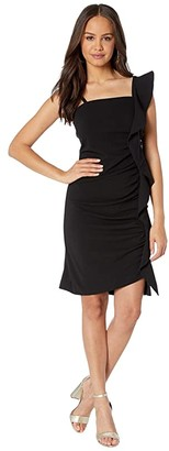 Sam Edelman Ruffle One Shoulder Sheath (Black) Women's Dress