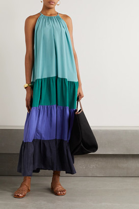 Vanessa Bruno Nuccia Tiered Color-block Washed Silk-satin Maxi Dress - Teal