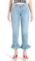 MSGM Women's Flare Cuff Crop Jeans