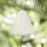 Crate & Barrel Needle Felt White Bell Ornament