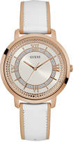GUESS Women's White Leather Strap Watch 40mm U0934L1