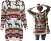 Orilife Women's Oversized Christmas Reindeer Snowflake Pullover Sweaters