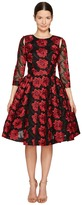 Zac Posen Poppy Embroidery 3/4 Sleeve Dress Women's Dress