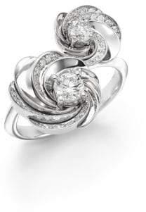 De Beers Aria Diamond& 18K White Gold Signature Toi-et-Moi Ring