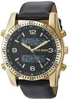 Steve Madden Men's Quartz Stainless Steel and Leather Dress Watch, Color:Black (Model: SMW103G)