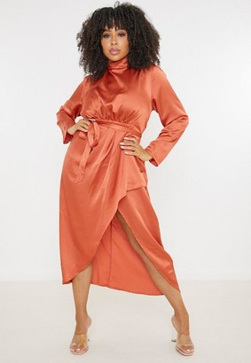 Missguided Size Rust Satin High Neck Wrap Midi Dress