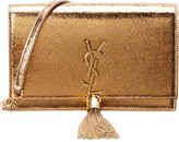 Saint Laurent Monogram Embossed Tassel Leather Clutch