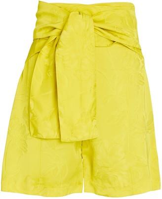 Silvia Tcherassi Limoncello Tie-Waist Jacquard Shorts