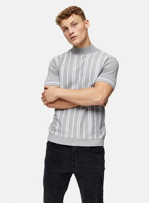Topman Grey Stripe Turtle Neck Knitted T-Shirt
