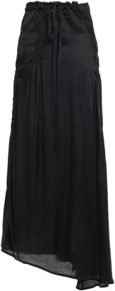 Ann Demeulemeester Asymmetric Shirred Satin-jersey Maxi Skirt