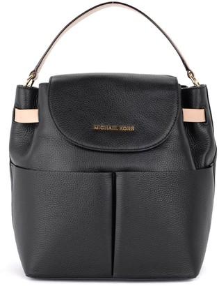 Michael Kors Bedford Model Backpack In Black Grained Leather
