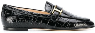 Tod's Crocodile Printed Leather Loafers