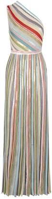 Missoni One-Shoulder Stripe Maxi Dress