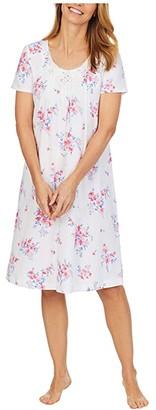 Carole Hochman Soft Jersey Short Sleeve Waltz Gown (White/Pink Multi Floral) Women's Pajama