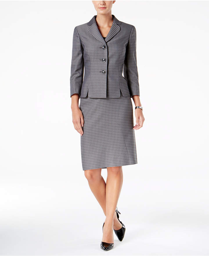 Le Suit Houndstooth Three-Button Suit, Regular and Petite