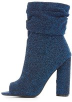 Charlotte Russe Qupid Shimmer Ruched Peep Toe Booties