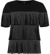 River Island Womens Black studded fringe front T-shirt