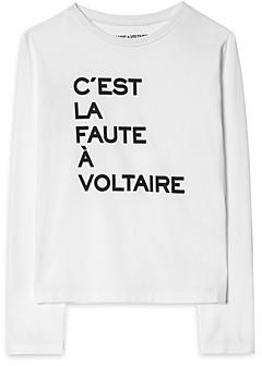 Zadig & Voltaire Girls' Shelah Cotton Long Sleeve Graphic Tee - Little Kid, Big Kid