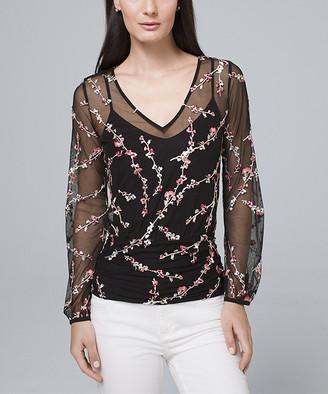 White House Black Market Women's Blouses Black - Black & Garden Bloom Sheer Floral-Embroidery V-Neck Top - Women & Juniors