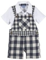 Andy & Evan Infant Boy's Polo Shirt & Gingham Overalls