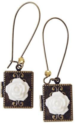 Poporcelain Classic Porcelain Rose On Vintage Book Locket Earrings