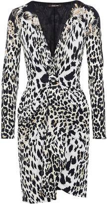Roberto Cavalli Knotted Leopard-print Silk And Wool-blend Mini Dress