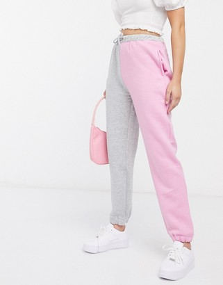 Daisy Street relaxed sweatpants in color block two-piece
