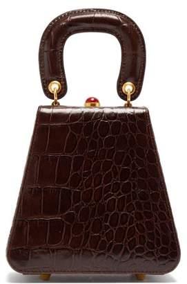 STAUD Kenny Top-handle Crocodile-embossed Leather Bag - Womens - Brown