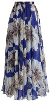 Maxwell Women's Floral Chiffon Maxi Skirt Summer Pleated Flowy Long Beach Dress