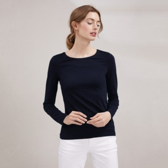 The White Company Essential Long Sleeve T-Shirt, Navy, 6