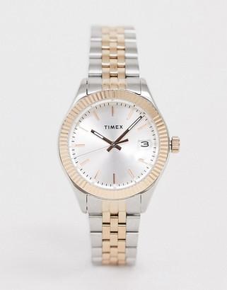 Timex Waterbury mixed metal bracelet watch in silver 34mm