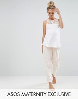 Asos Lace Trim Vest And Legging Pyjama Set