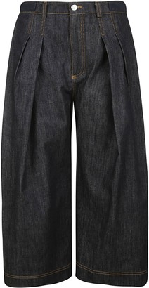 J.W.Anderson Pleated Cropped Denim Trousers