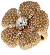 Kate Spade Gold Plated Faux Pearl Pave Flower Cocktail Ring