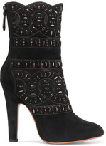 Alaia Studded Cutout Suede Boots