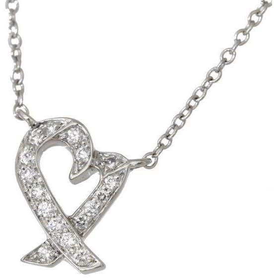 Tiffany & Co. Platinum Loving Heart Diamond Necklace