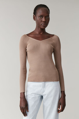 Cos Ribbed V-Neck Sweater