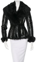 Alaia Patent Leather Shearling Jacket