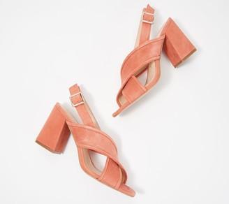 Sole Society Suede Block Heel Cross-Strap Sandals- Joree